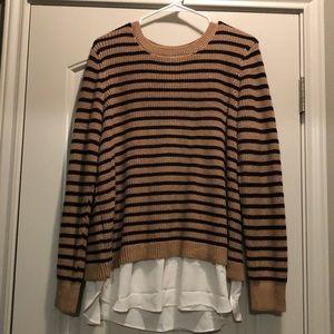 LOFT Sweaters - LOFT black and camel stripe mixed media sweater